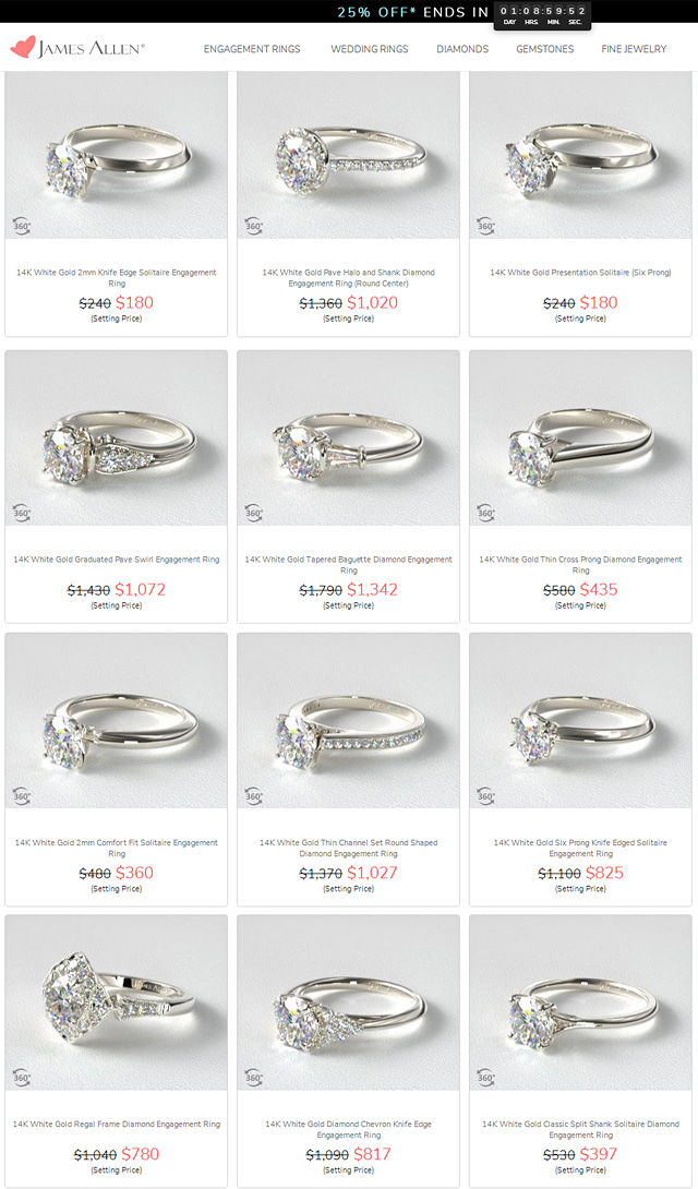 Engagement Ring Mountings On Sale For Black Friday 2019