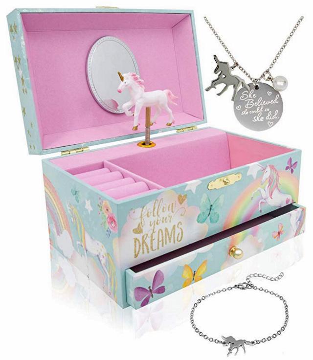 Unicorn Music Box And Unicorn Jewelry Set