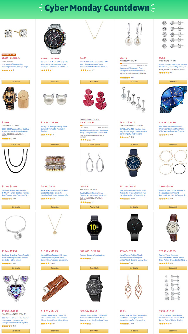 Cyber Monday 2019 Jewelry Sales