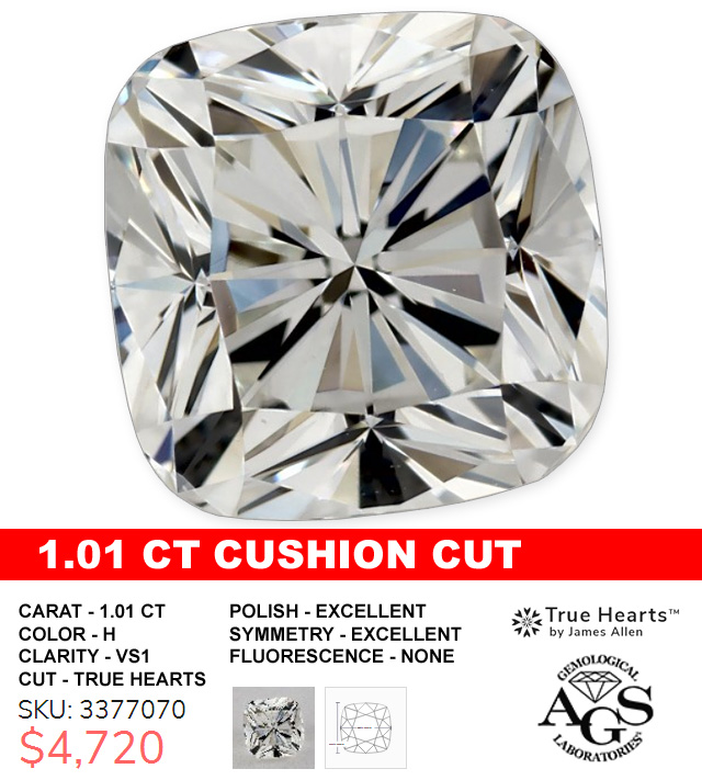 1 Carat True Hearts Cushion Cut Diamond Deal