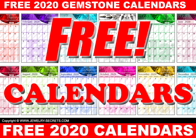 Free 2020 Printable Downloadable Free Gemstone Calendars