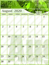 Free August Calendar 2020