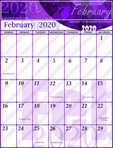 Free February Calendar 2020