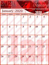 Free January Calendar 2020