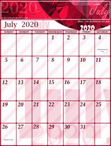Free July Calendar 2020