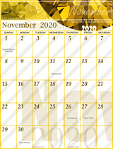 Free November Calendar 2020