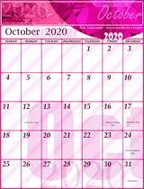 Free October Calendar 2020