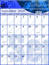 Free September Calendar 2020