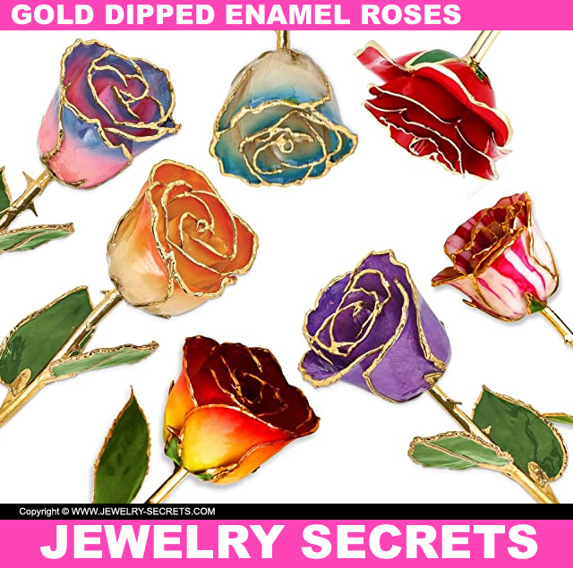 Valentines Day 2020 Gold Dipped Enamel Roses