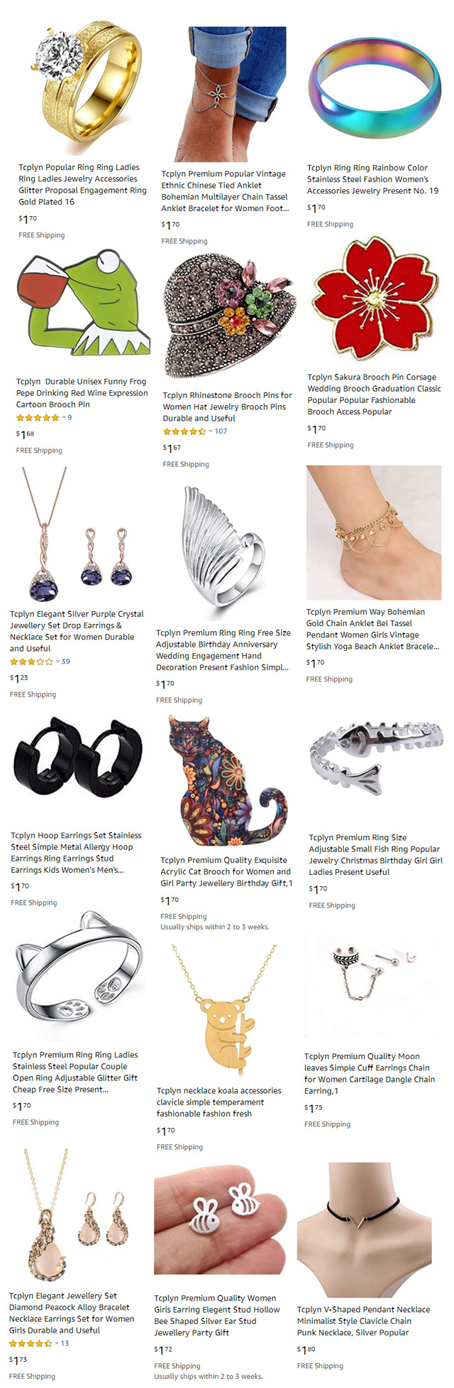 2 Dollar Jewelry With Free Shipping