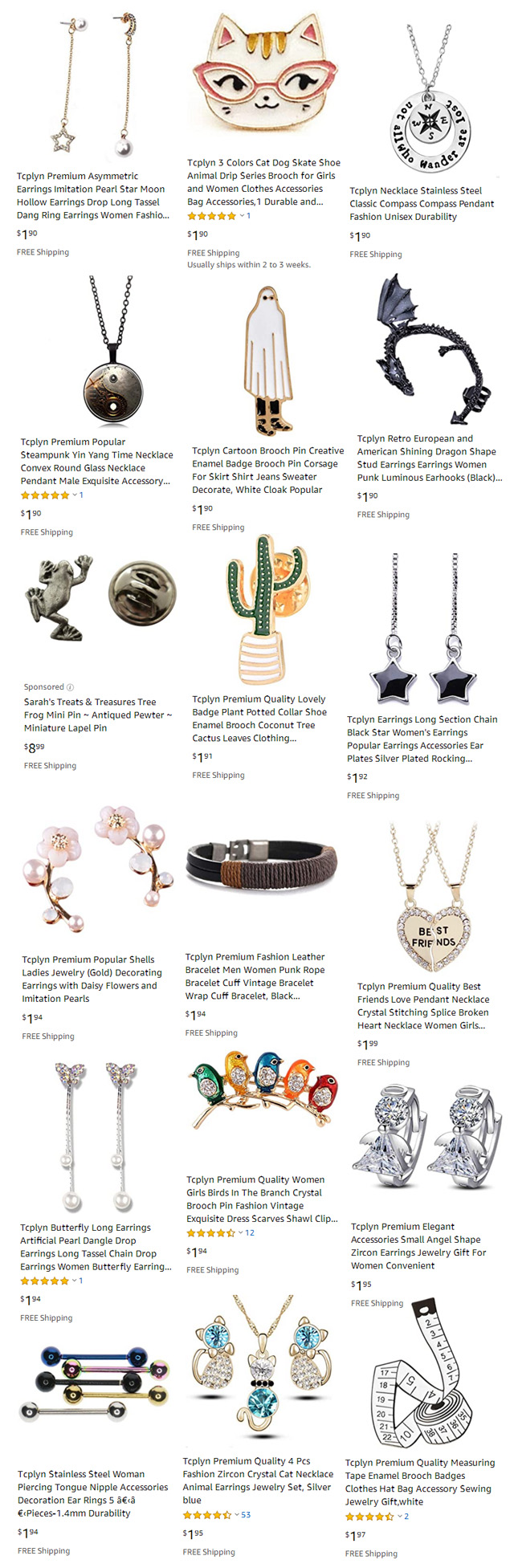 Jewelry 2 Dollars Or Less With Free Shipping