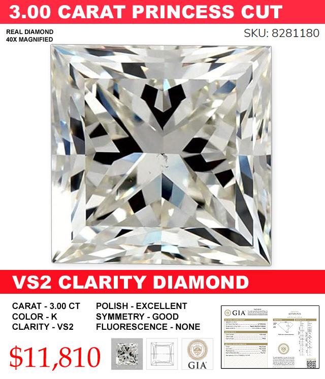 A Must Buy 3 Carat Princess Cut VS2 Diamond Deal