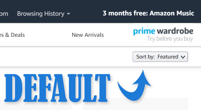 Amazon Sorts By Featured Default
