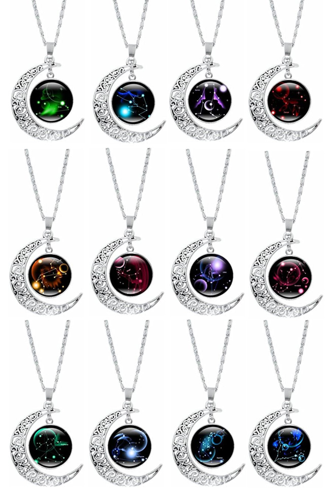 12 Constellations Cresent Moon Necklaces