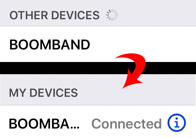 Boomband Bluetooth Connected Pairing
