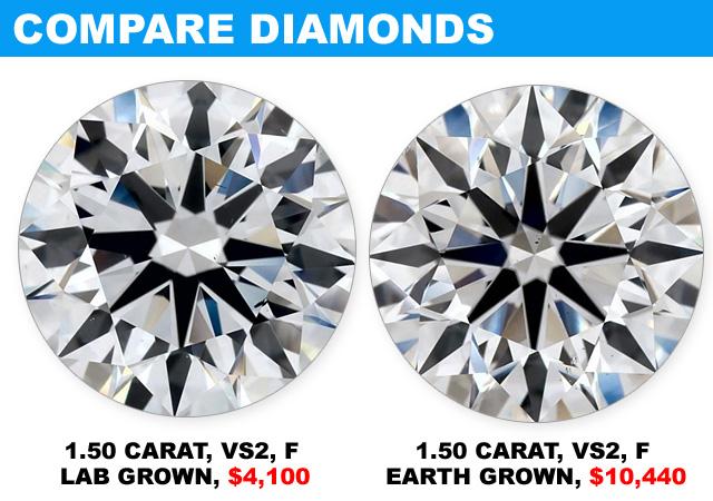 Compare Big Genuine Diamonds VS Lag-Grown Diamonds