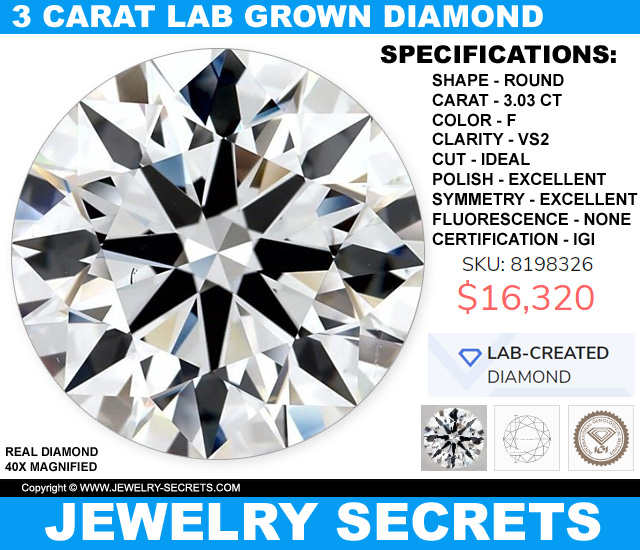 3 Carat Lab-Created Grown Diamond Man-Made Sale
