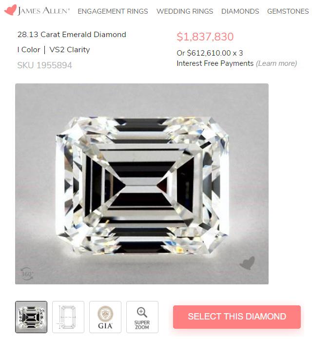 James Allens Biggest Diamond