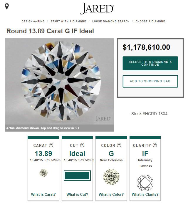 Jared Jewelers Biggest Diamond