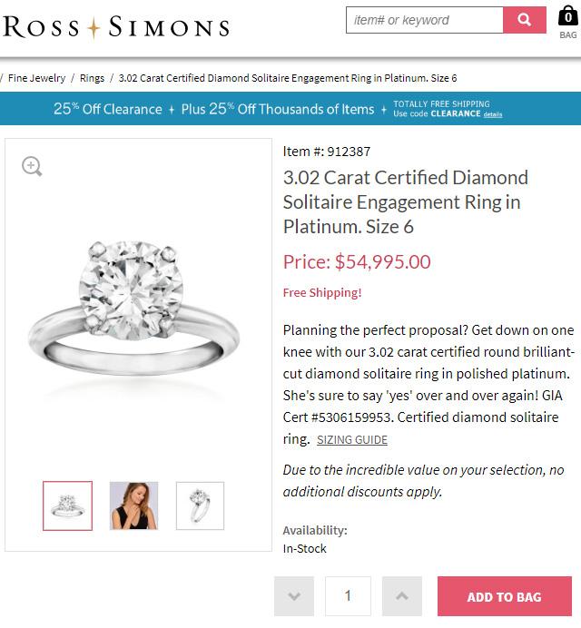 Ross Simons Jewelers Biggest Diamond