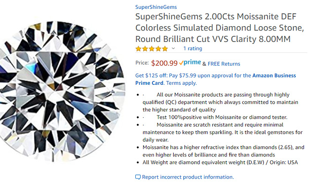 Simulated Diamond On Amazon