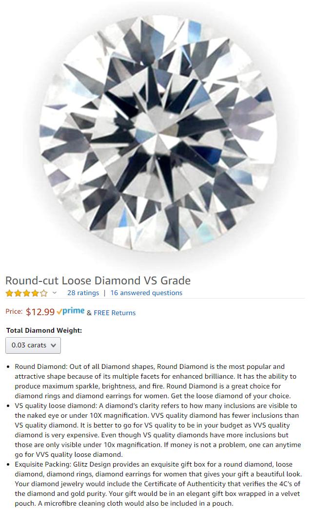 VS Clarity Diamond For Just 13 Dollars