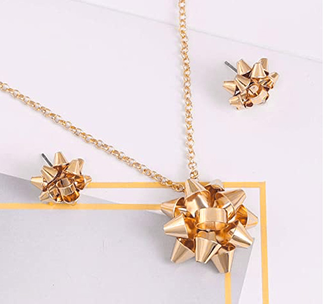 Christmas Bow Pendant Earring Jewelry Set