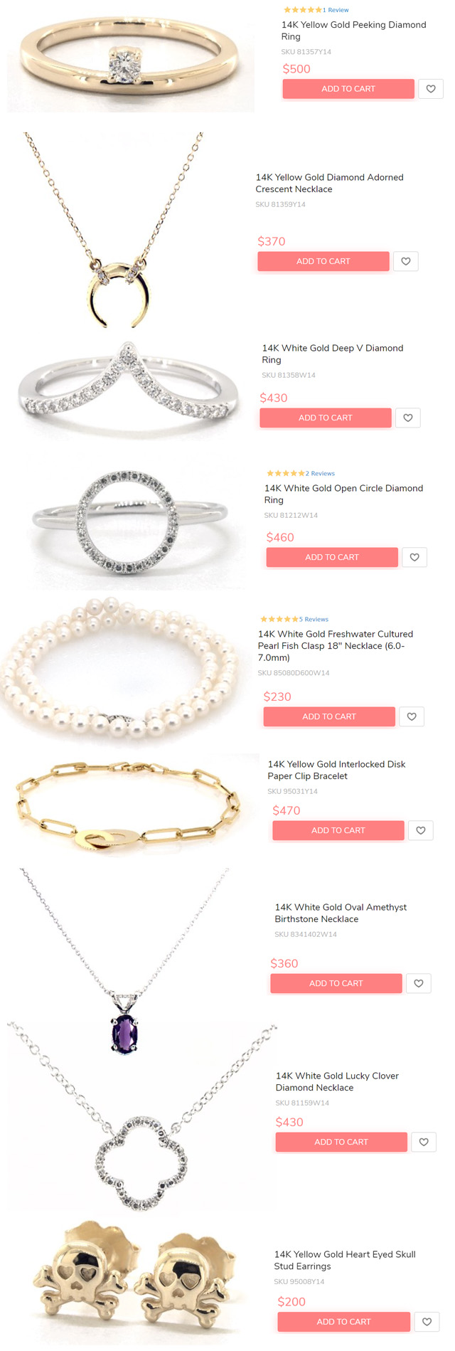 Jewelry Gifts Under 500 Dollars